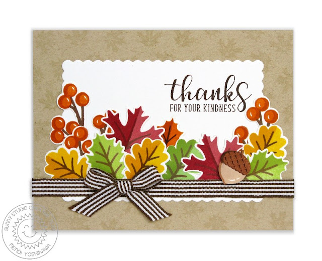 Sunny Studio Stamps: Autumn Splendor & Autumn Greetings Fall Leaves Thank You Card by Mendi Yoshikawa