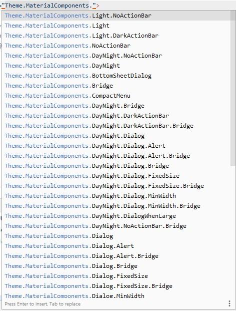 Daftar Tema Material Design Android Studio
