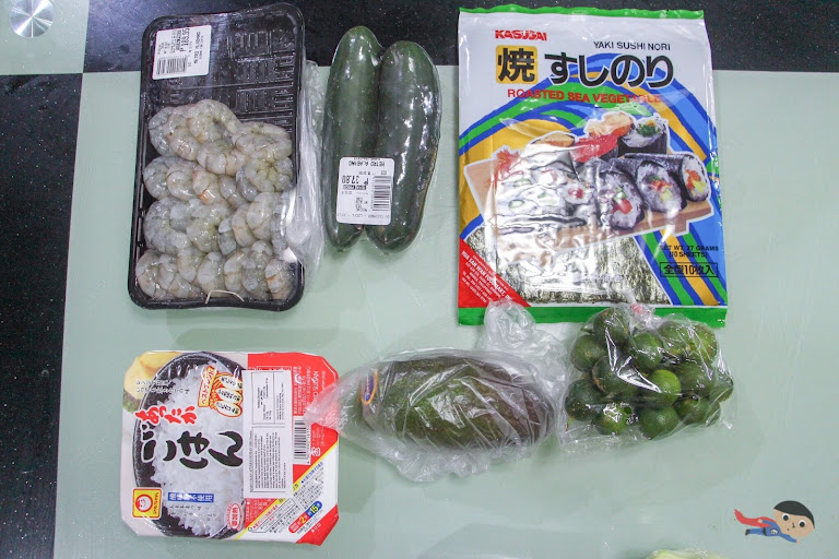 Ingredients for Shrimp Maki