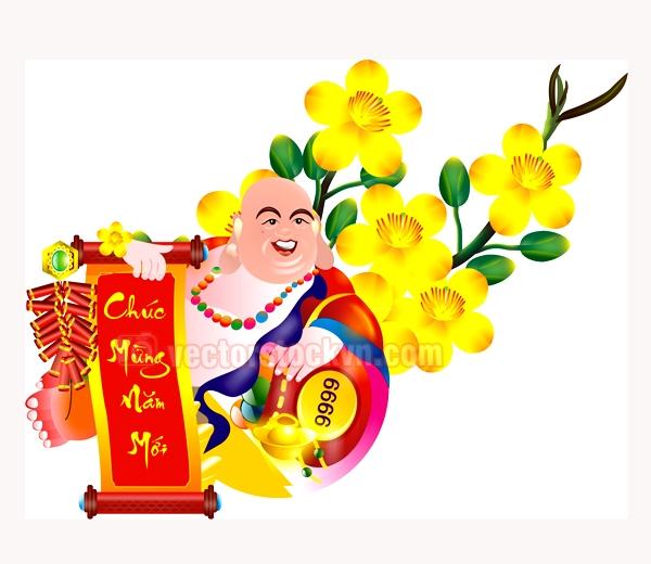 Vector Phật Di Lặc & Hoa Mai