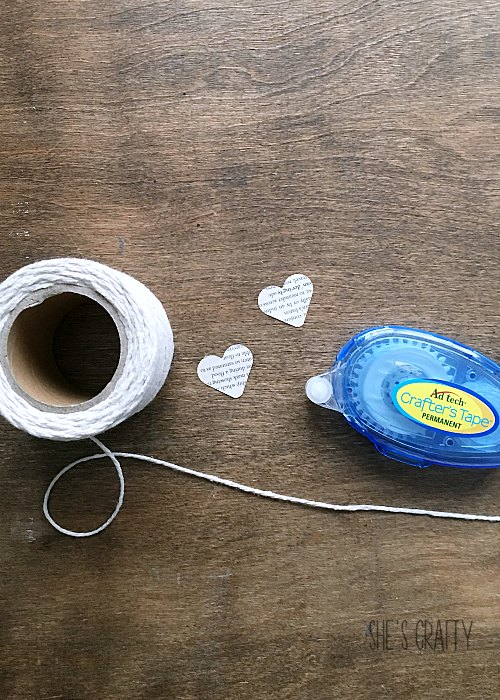 string, heart punches from paper, crafter's tape