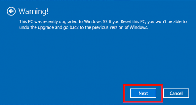 Click next if Windows warns you that you won't be able to roll back to a prior version of the OS.
