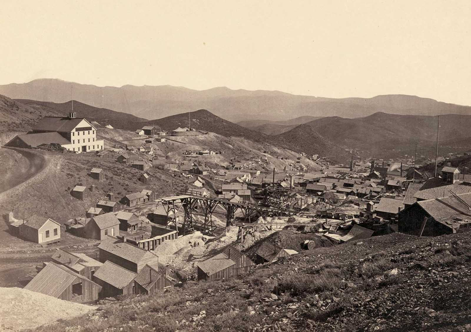 The mining town of Gold Hill, just south of Virginia City, Nevada, in 1867.