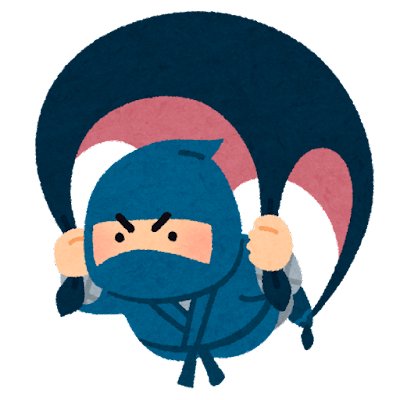 むささびの術をする忍者のイラスト