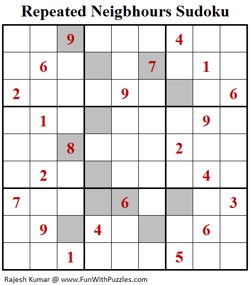 Repeated Neigbhours Sudoku (Fun With Sudoku #146)