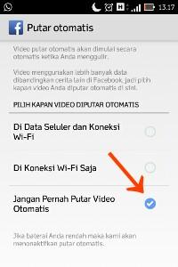Menonaktifkan pengaturan video facebook otomatis