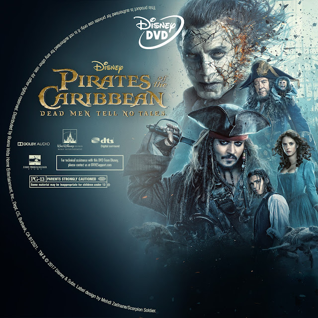 Pirates Of The Caribbean Dead Men Tell No Tales DVD Label
