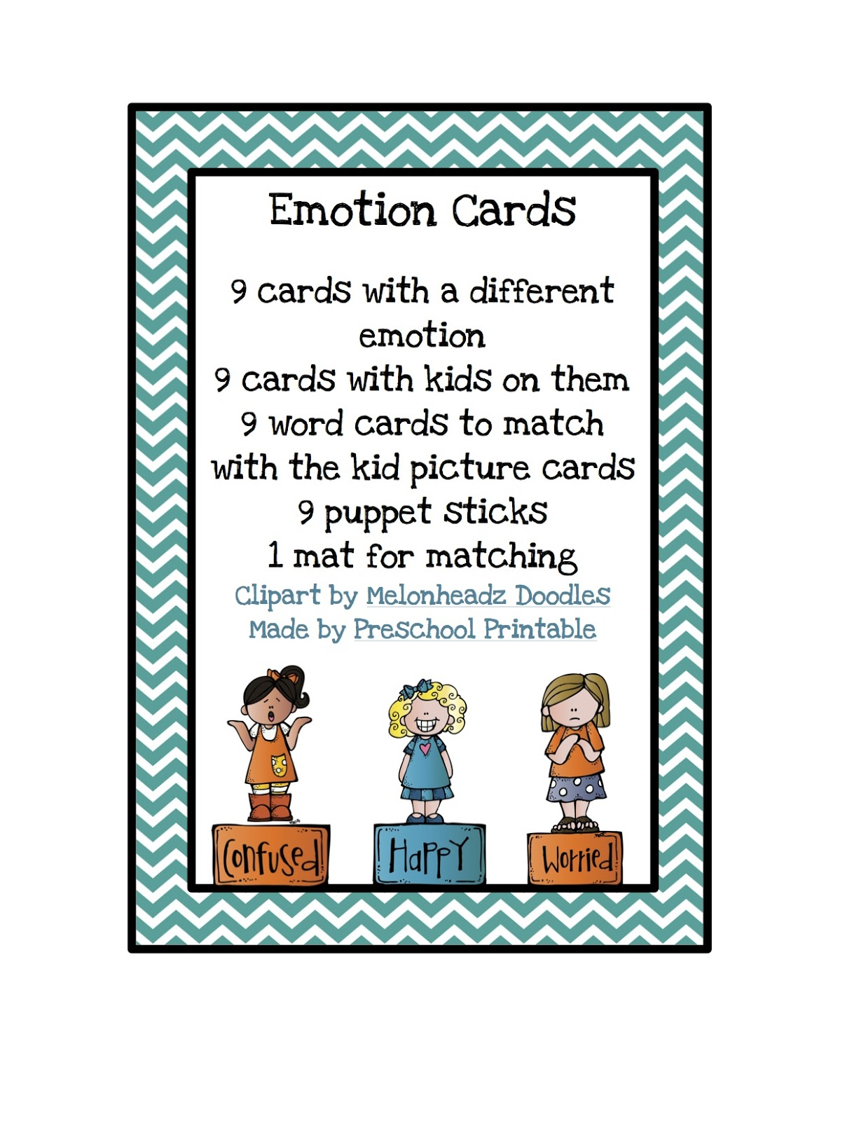 Emotion Cards Preschool Printables