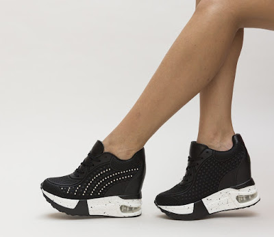 pantofi sport cu platforma inalta negri