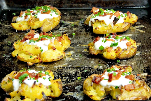 Crispy little baked potatoes, smashed, and loaded with all of your favorite toppings from www.bobbiskozykitchen.com