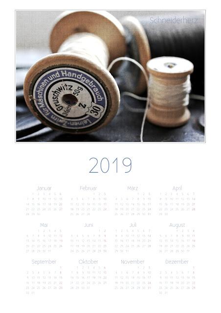 Kalender Schneiderherz 2019 A4