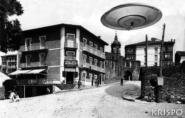foto antigua de un ovni en la parte vieja de hondarribia