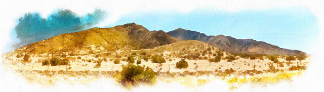 painting of sere New Mexico mountains