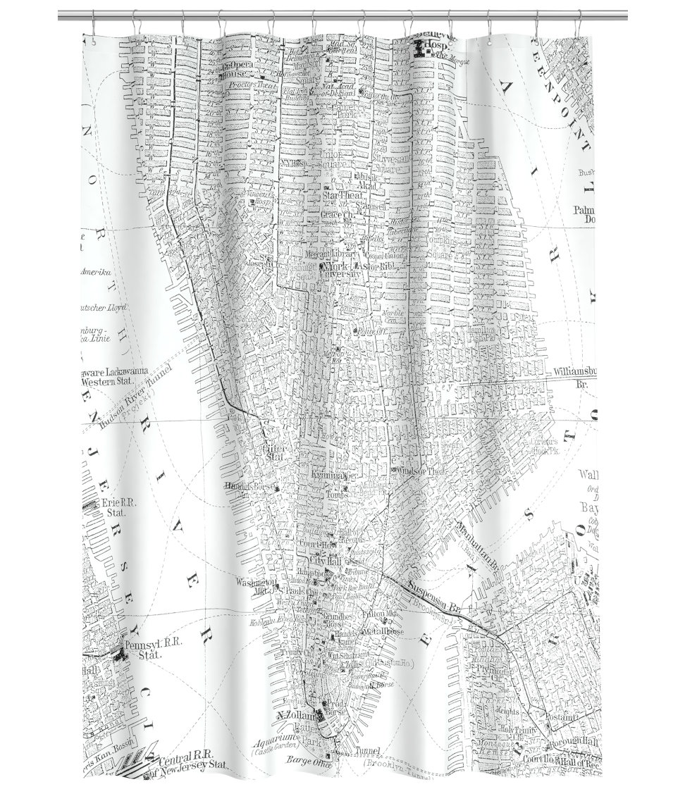 New York Map Shower Curtain From HM Home