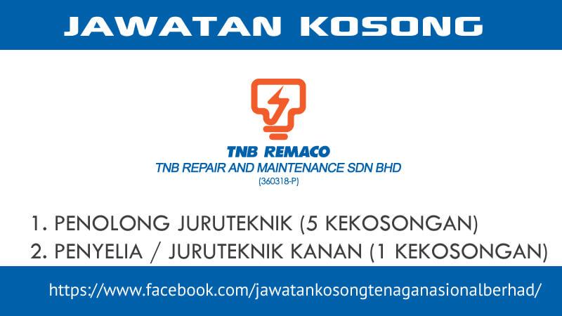 Jawatan Kosong TNB Repair and Maintenance Sdn Bhd