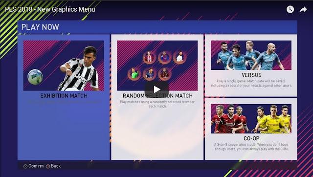 PES 2018 Graphic Menu versi FIFA 2018 dari Ginda01