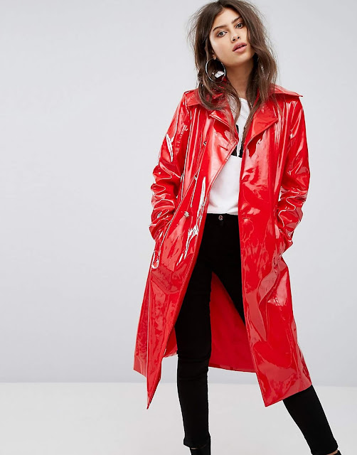 ATTICO BELTED VINYL TRENCH COAT