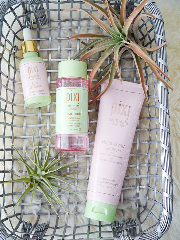 Pixi Rose Cream Cleanser, Rose Tonic, and Rose Oil Blend