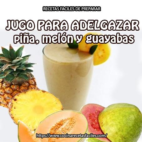 piña,melón,guayabas,agua