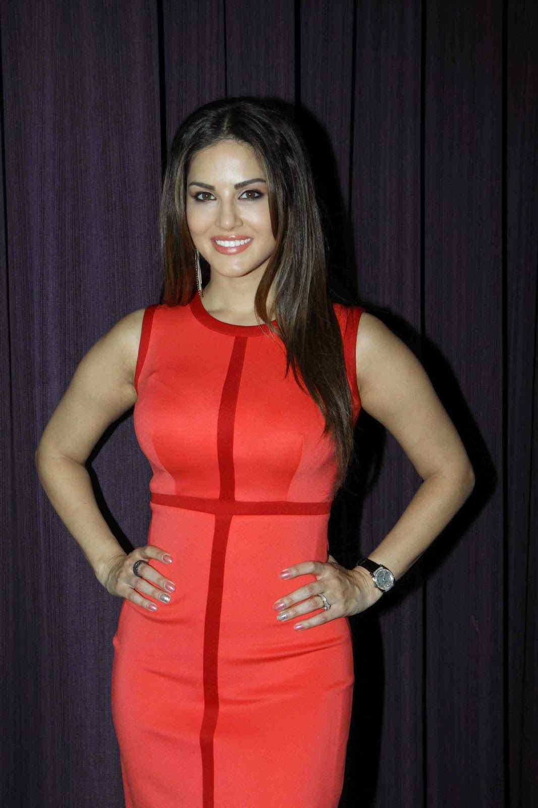 Sunny Leone Long Hair Stills In Maroon Dress