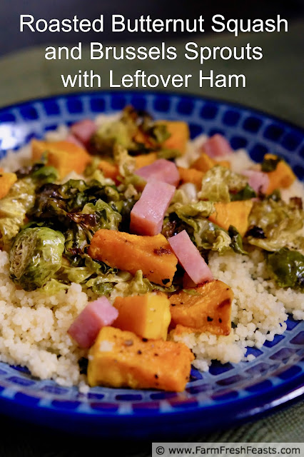 photo of a plate of roasted brussels sprouts with butternut squash and ham cubes on cous cous