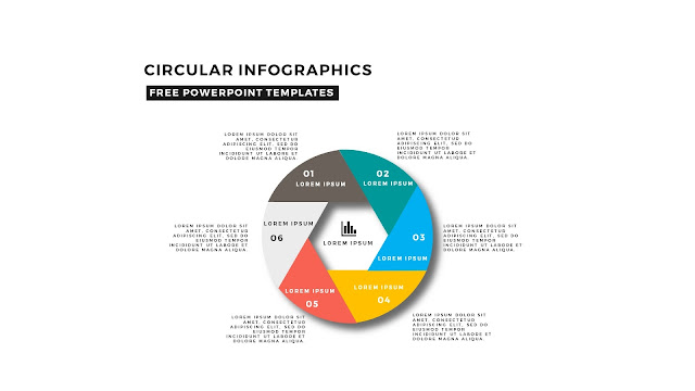 Circular and Shutter Infographics Free PowerPoint Template with 6 steps