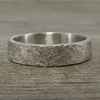 Recycled 950 palladium ring asphalt texture hammered