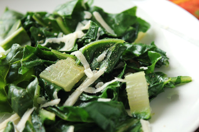 simple sauteed swiss chard with black pepper and parmesan and lemon