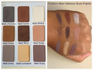 thebalm meet matte nude palette swatched on dark skin