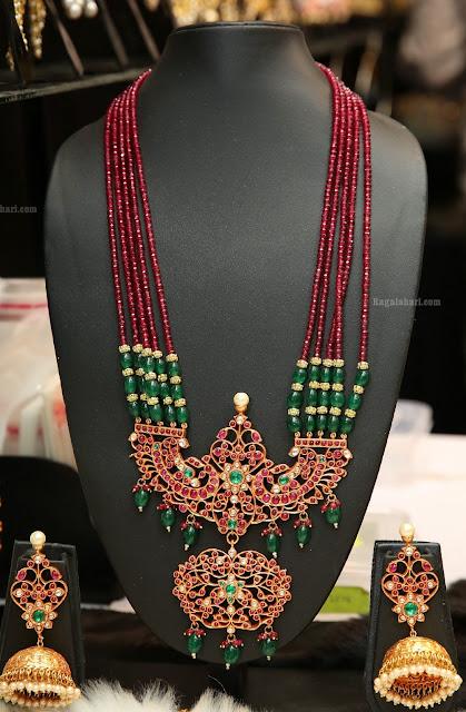 Beads Haram with Kundan Peacock Patakam Locket