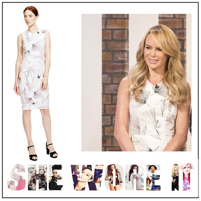 Amanda Holden, Black, Cream, Dress, Leaf Print, Light Pink, Marks And Spencer, Pencil Dress, Shift Dress, Sketch Print, Sleeveless, This Morning, V-Neck,