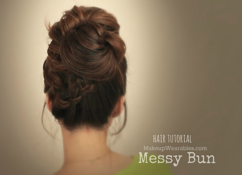 Hair Tutorial : Big, Messy Bun With Braids Video