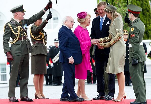 Queen Maxima wore a outfit from Claes Iversen 2019 collection. Michael D Higgins and his wife Sabina Higgins