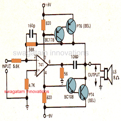 Power Amplifier Circuit using IC 741
