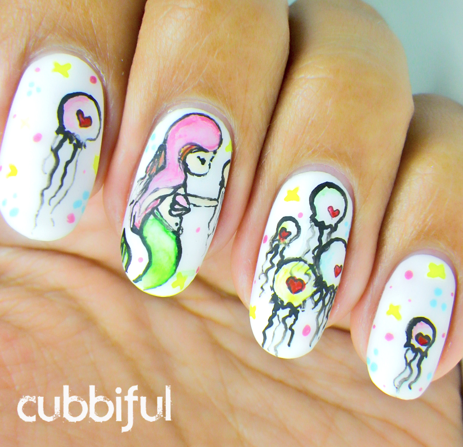 jellyfishes and mermaid nails