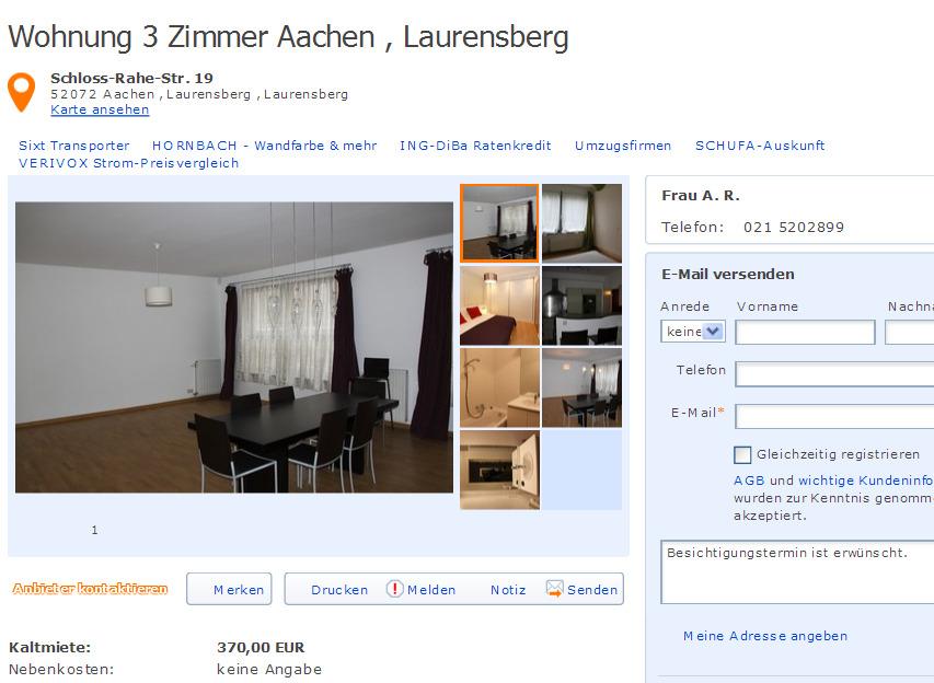 Kettwiger Str 9 45127 Essen  Gegen Wohnungsbetrug against rental scammers