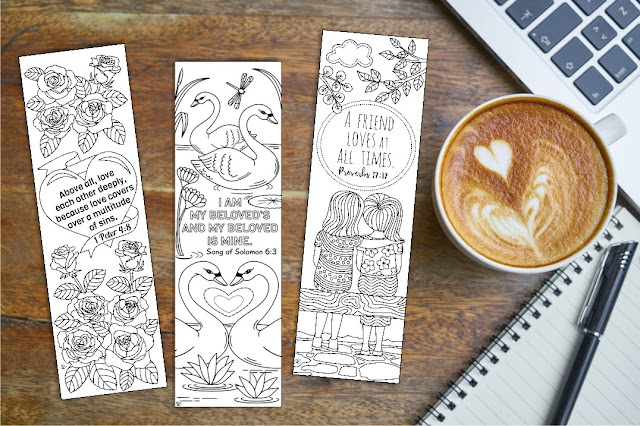 love bible coloring bookmarks