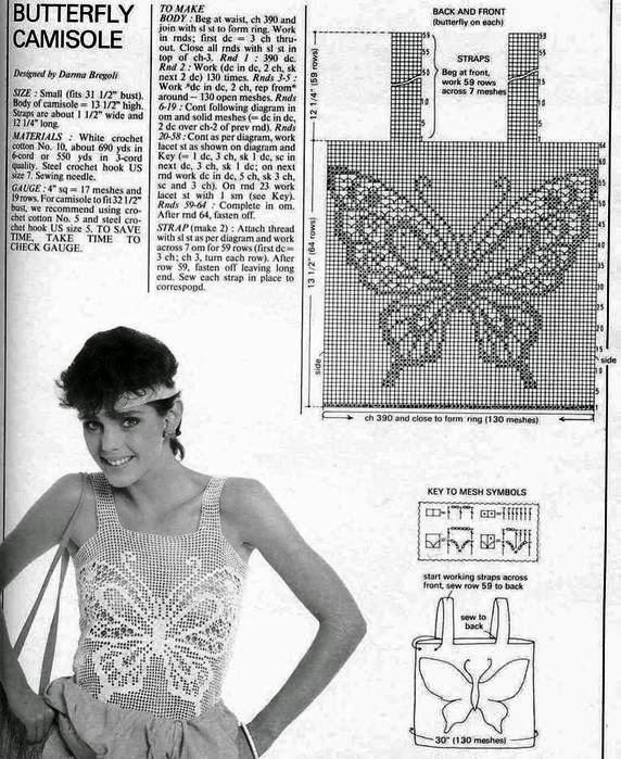 Blusa sin mangas de dama tejida con ganchillo con motivo de mariposa ...