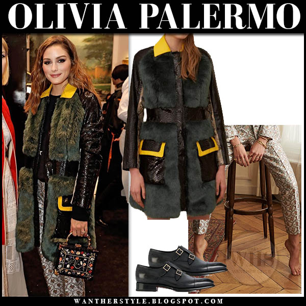 Olivia Palermo wears green fur kim shui coat and floral print sezane pants. Fashion week outfits february 2019