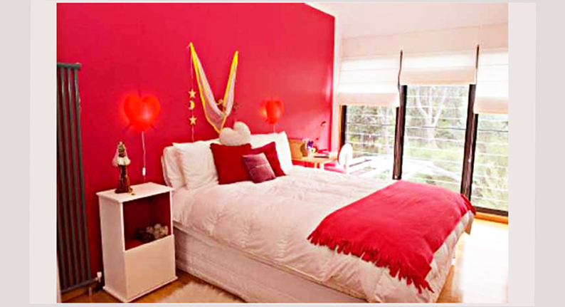 bedroom designs for teenage girls red color with white and red bed