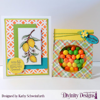 Divinity Designs Stamp Sets: Festive Favors Tag Sentiments, Lemon Branch, Mixed Media Stencils: Circles, Custom Dies: Pierced Rectangles, Festive Favors, Paper Collection: Birthday Brights