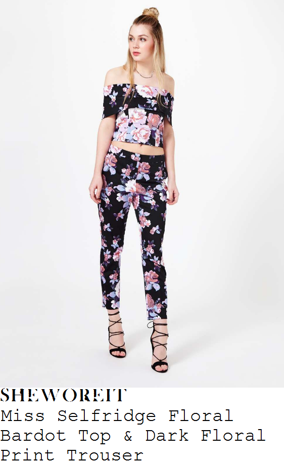 lydia-bright-miss-selfridge-black-pink-and-purple-dark-rose-floral-print-off-the-shoulder-bardot-crop-top-and-matching-slim-leg-trousers