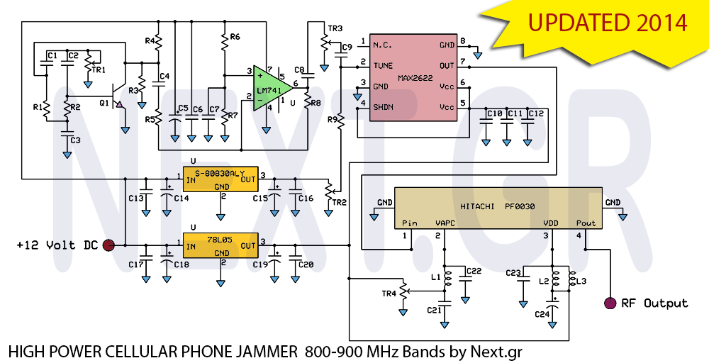 Circuits : High Power Mobile Phone Jammer Circuit