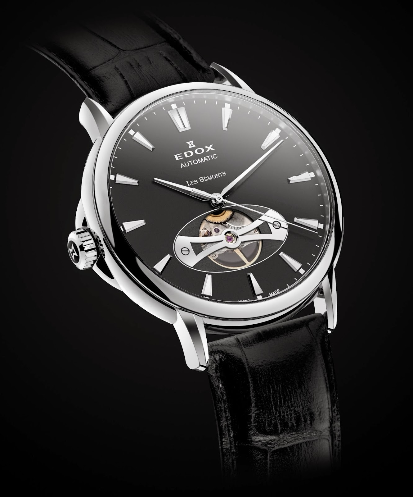 """... Les Bémonts Open Vision automatic features an """"open heart"""" window at 6  o clock revealing the balance wheel of the intricate mechanical workings  inside. c10f0197e47"""