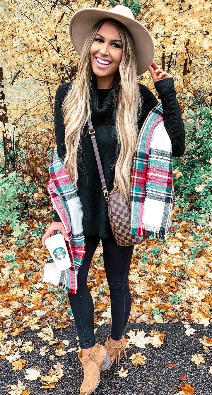 how to style a plaid scarf : hat + sweater + black skinnies + crossbody bag + boots