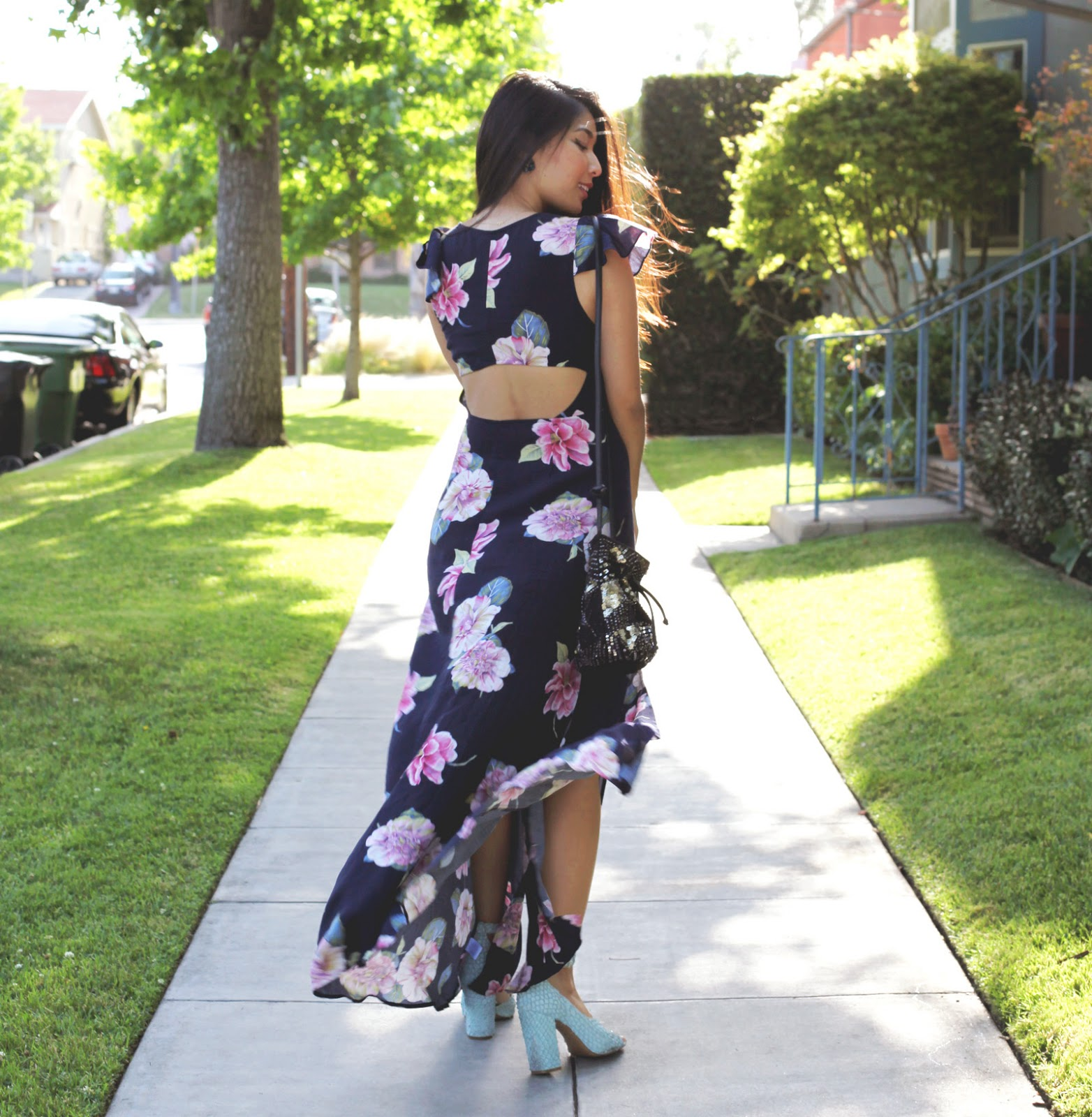 Stephanie Liu of Honey & Silk wearing Reformed by Reformation dress, Urban Outfitters bag, 3.1 Phillip Lim heels, Tacori City Lights earrings, and BesoBeso by Luka cuff