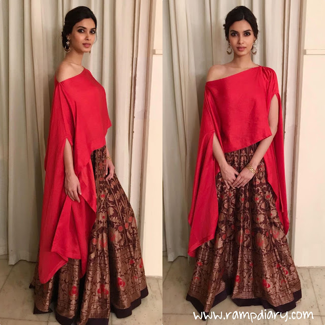 Diana Penty opted to wear a Payal Khandwala outfit while attending a recent wedding