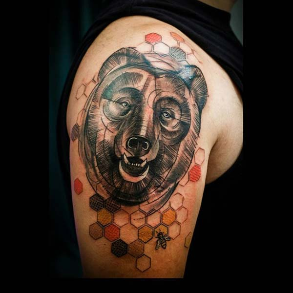 tattoo art bear figure