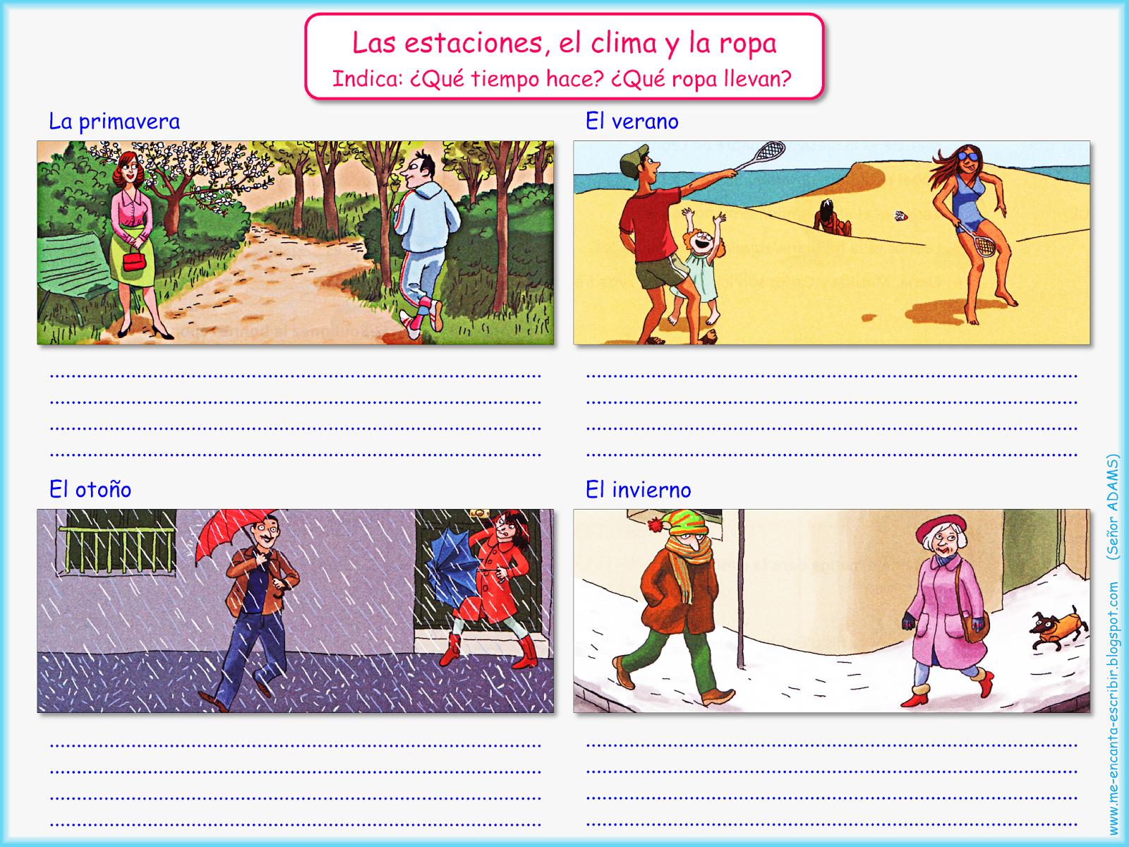 Me Encanta Escribir En Espanol Las Estaciones El Clima Y La Ropa