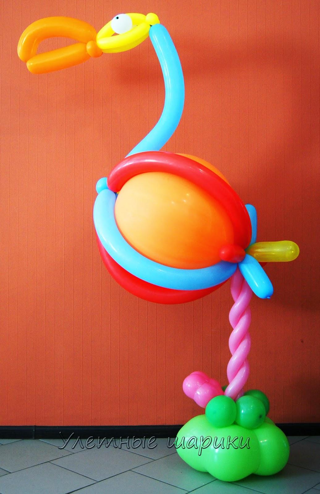 Фламинго из воздушных шариков